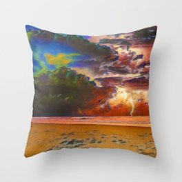 Rage Over The Ocean | Storm Beach Lightening - Oil Painting Throw Pillow