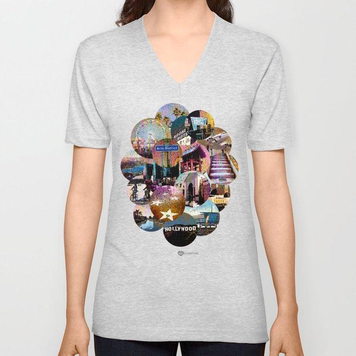 City Cloud-Famous L.A. Locations Unisex V-Neck