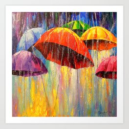 Dancing umbrellas Art Print
