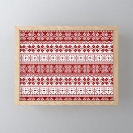Red Winter Fair Isle Pattern Framed Mini Art Print