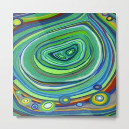 Vibrant Pastel on Suede Tree Ring Abstract by annmariescreations Metal Print