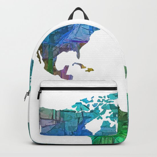 Blue World Transparent Map Backpack