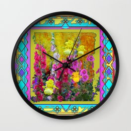 Western Art Deco Yellow Iris Garden Design Wall Clock
