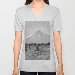 Desert Mountain Black and White Unisex V-Neck