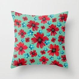 Italian Carnations & Columbines Throw Pillow