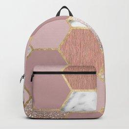 Indulgent desires rose gold marble Backpack