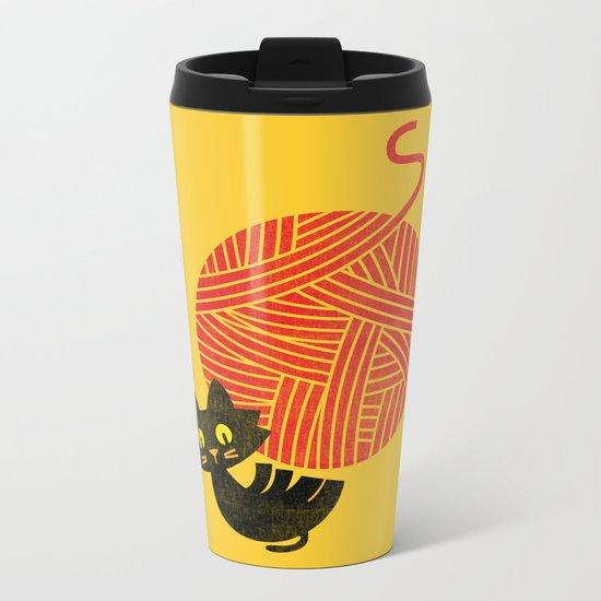 Fitz - Happiness (cat and yarn) Metal Travel Mug