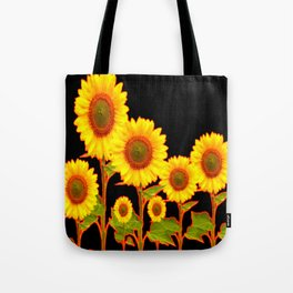 BLACK MODERN YELLOW SUNFLOWER FIELD Tote Bag