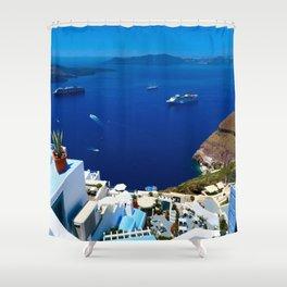 Santorini Caldera Shower Curtain