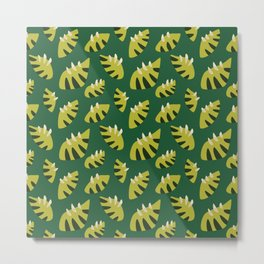 Pretty Clawed Green Leaf Pattern Metal Print
