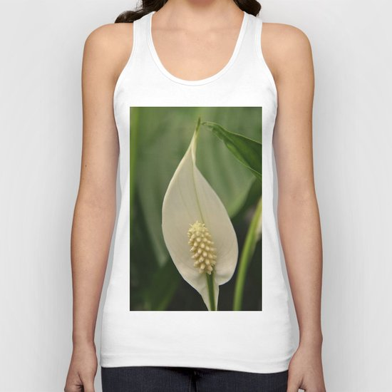 white flower Unisex Tank Top