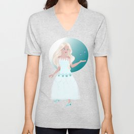 Elsa princess with Butterfly Unisex V-Neck