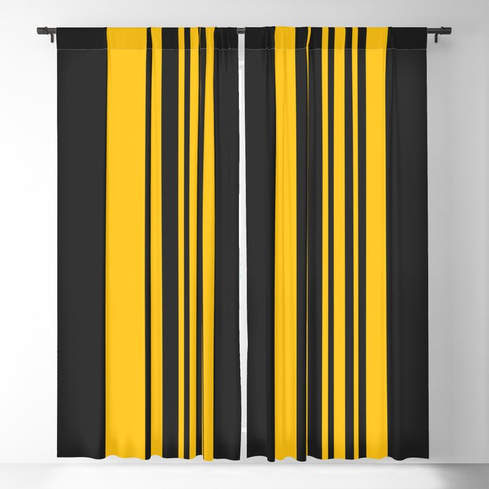 Yellow Stripes On Black Blackout Curtain By Margybengal Society6