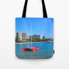 Oahu: Little Red Boat Tote Bag