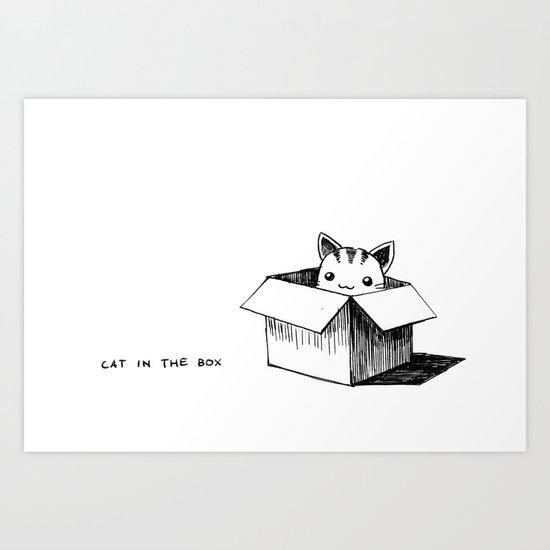 Cat in the box Art Print