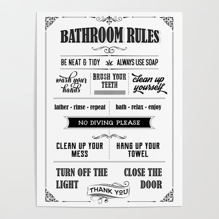 Bathroom Rules Poster By Muharko Society6