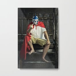 angry mexican luchador Metal Print