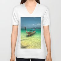 thailand V-neck T-shirts featuring Thailand Longboat by Adrian Evans