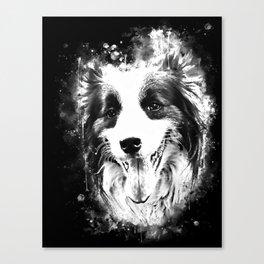 border collie shepherd dog splatter watercolor white Canvas Print