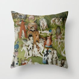 Hieronymus Bosch - The Garden of Earthly Delights - Medieval Oil Painting Throw Pillow