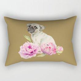 Pug and Peonies | Watercolor Illustration Rectangular Pillow
