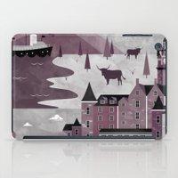 travel poster iPad Cases featuring Edinburgh Travel Poster Illustration by ClaireIllustrations