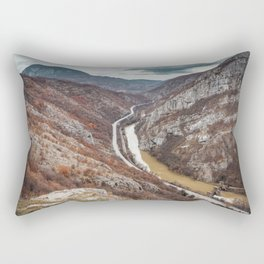 Beautiful picture of the canyon in Serbia, with river and the highway in the middle Rectangular Pillow