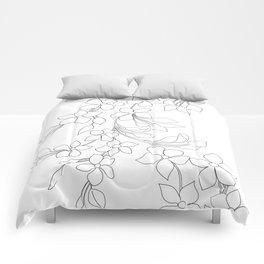 Minimal Wild Roses Line Art Comforters