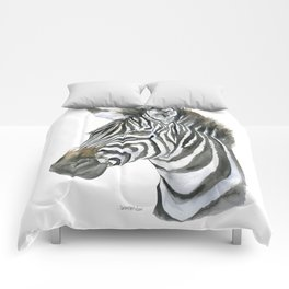 Zebra Watercolor Painting - African Animal Painting Wildlife Head Bust Comforters