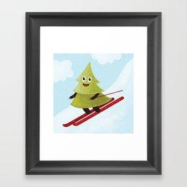 Happy Pine Tree on Ski Framed Art Print