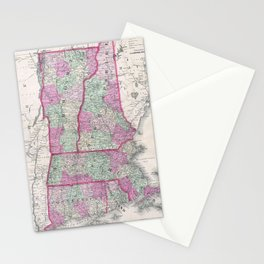 Vintage Map of New England States (1864) Stationery Cards