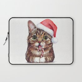 Christmas Cat in Santa Hat Whimsical Holiday Animals Laptop Sleeve