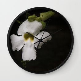 Exotic White Flower Wall Clock