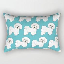 Bichon Frise Dog on blue Rectangular Pillow