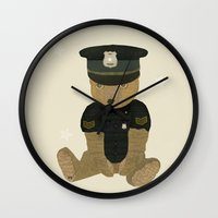 police Wall Clocks featuring police ted  by bri.buckley