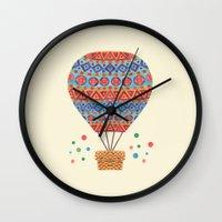 hot air balloon Wall Clocks featuring Hot Air Balloon by haidishabrina