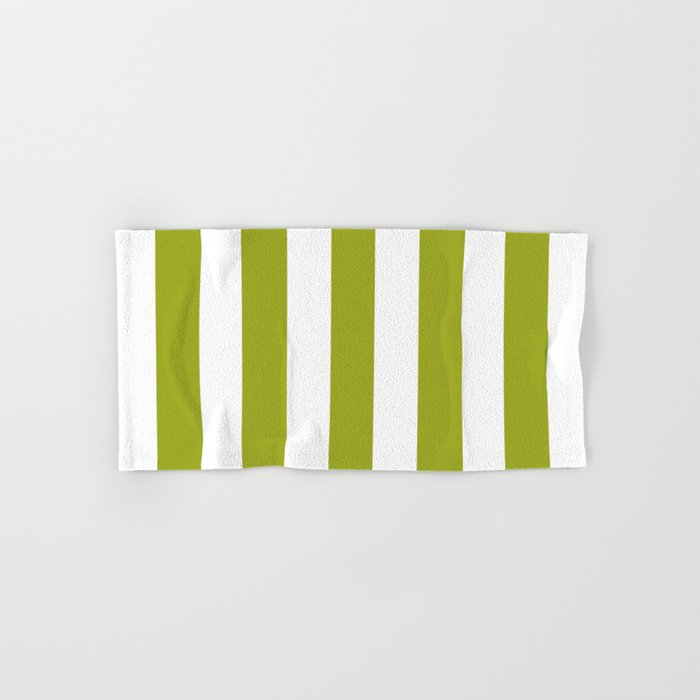 Citron Green Solid Color White Vertical Lines Pattern Hand Bath Towel