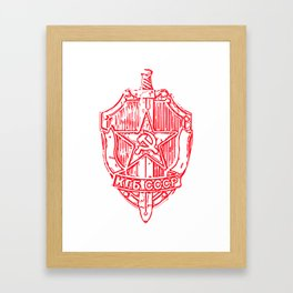 KGB Badge Outline Drawing Framed Art Print