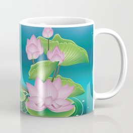Lotus Flower with Leaves Coffee Mug