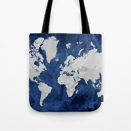 Dark blue watercolor and grey world map Tote Bag