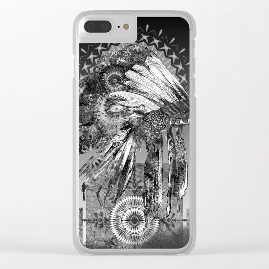 black and white mandala headdress Clear iPhone Case