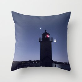 Moon Venus and the Annisquam Lighthouse Throw Pillow