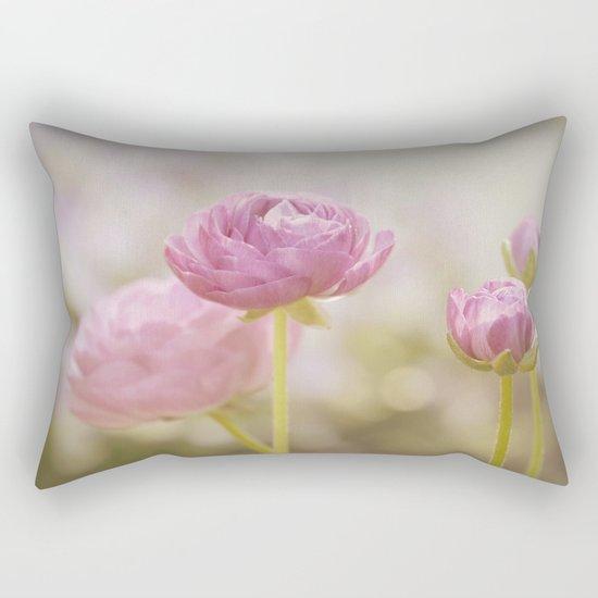 Pink floral Ranunculus flowers in love Rectangular Pillow