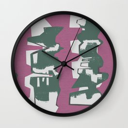 Green Abstract Building Wall Clock