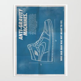 Vintage Air Jordan 1 Retro Blueprint Poster 1 Poster
