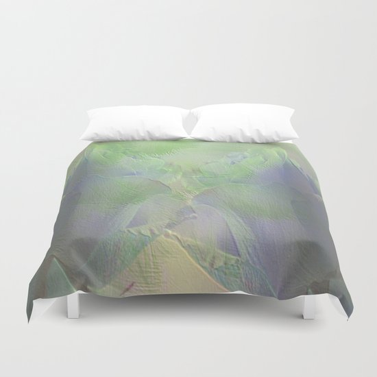 Painterly Mint Green and Lavender Roses Abstract Duvet Cover