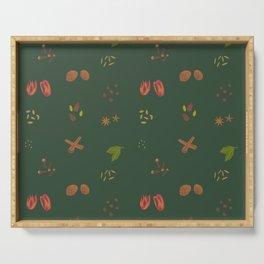 Sap Green Garam Masala Pattern Serving Tray