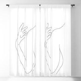 Line drawing figure illustration - Elsie Blackout Curtain