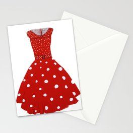 Polka Dotted Red Dress  Stationery Cards
