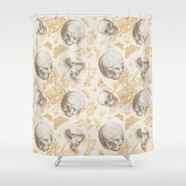 Skulls, Flowers and Butterflies pattern on ivory Shower Curtain